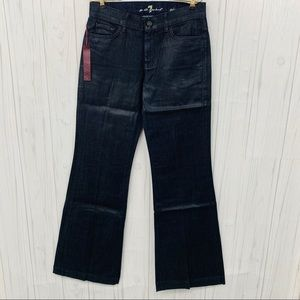 7 FAMK BLUE SHINE GINGER VERY WIDE LEG FLARE JEANS